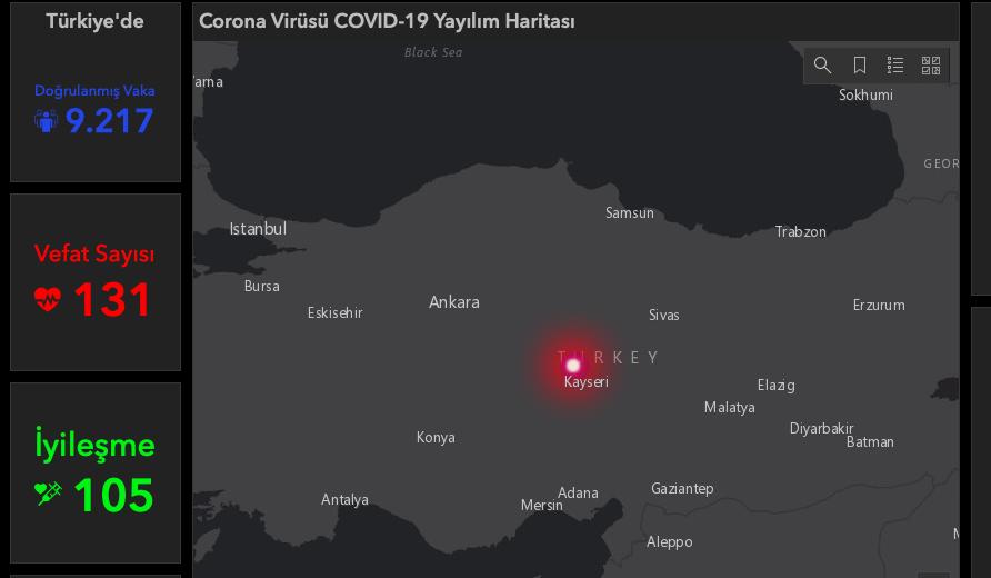 Türkiye Koronavirüs Haritası Canlı